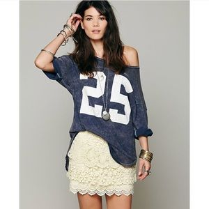 Free People Field Flower Mixed Media Lace Skirt